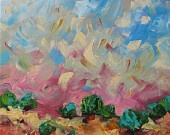 Art Original Landscape Painting Abstract Landscape Painting Surreal Dreamy Acrylic Painting on Canvas by Linda Monfort. $350.00, via Etsy.