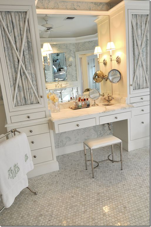 need the stool. pretty sconces & X cabinet detail. pretty marble. Tiny sink!