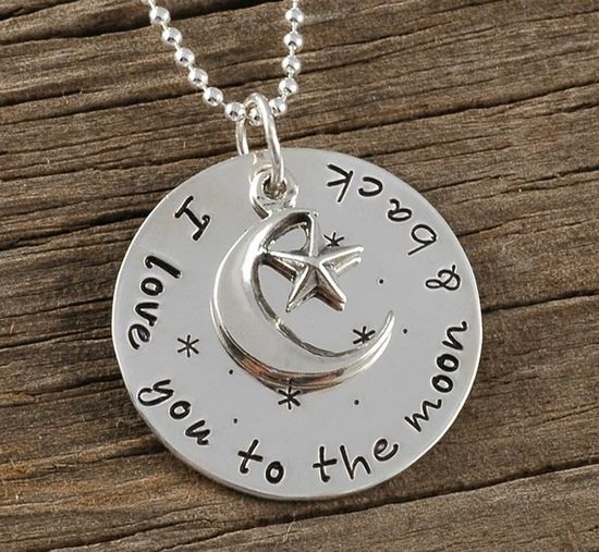 I love you to the moon and back  Necklace by divinestampings, $42.00