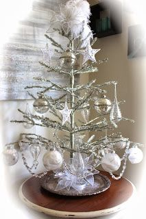 DIY: Vintage Style Silver Christmas Tree with Simple Glass Decorations