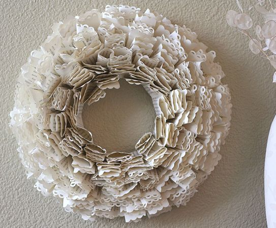Make a book page, lacy edged wreath tutorial and 45 BEST Shabby Lifestyle Decor & Accessory DIY Tutorials EVER!! From MrsPollyRogers.com