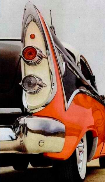"""1956 Dodge, back lights: awkward as American industrial design can be so infantile & """"unfinished"""" (unpolished, unrefined, incomplete, immature)"""