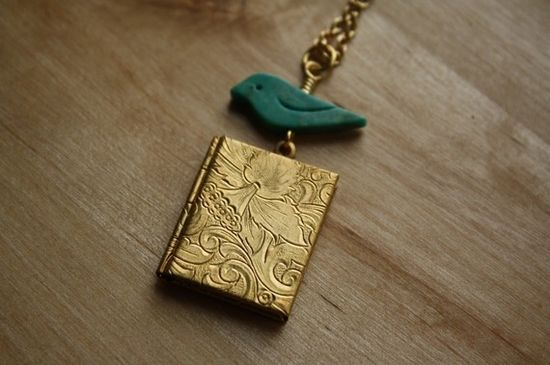 Turquoise Blue Bird and Vines Book Locket Pendant by FreshyFig, $34.00