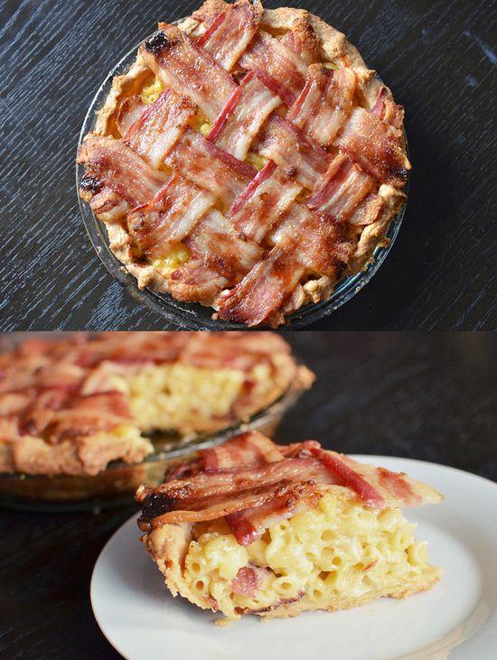 Bacon Mac 'N' Cheese Pie with Bacon Lattice