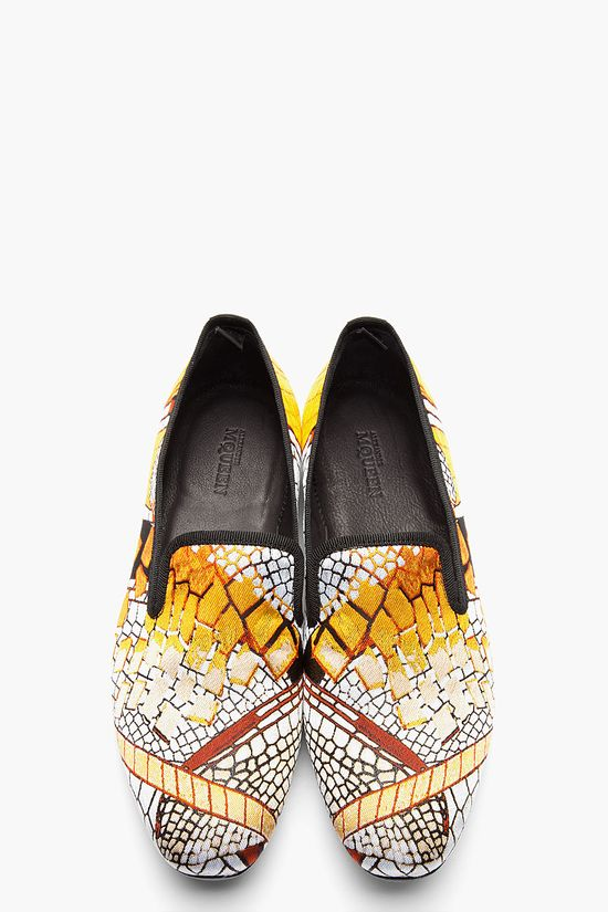 ALEXANDER MCQUEEN Gold Jacquard Woven Loafers