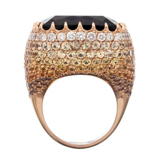 Massive Amethyst Ring in Rose Gold Sapphire-Encrusted  Mounting // 1stdibs