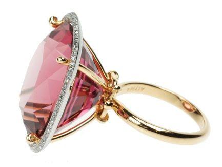 Pink Tourmaline ring with diamonds