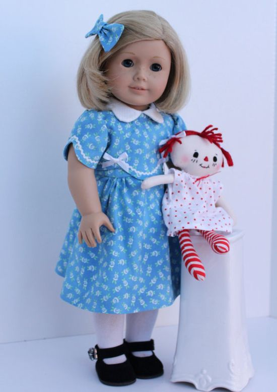 1930s Blue Dress and Raggedy Ann For American by BrooksideLane,