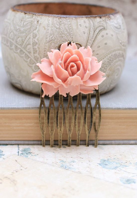 Rose Comb Brick Pink Peach Flower Hair Comb by apocketofposies
