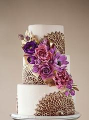 Purple & gold wedding cake