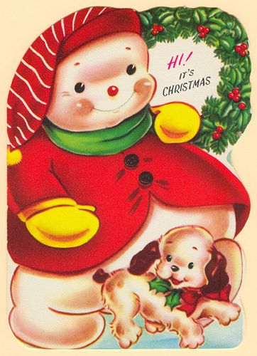 Hi! It's Christmas! #vintage #Christmas #cards #cute #snowman