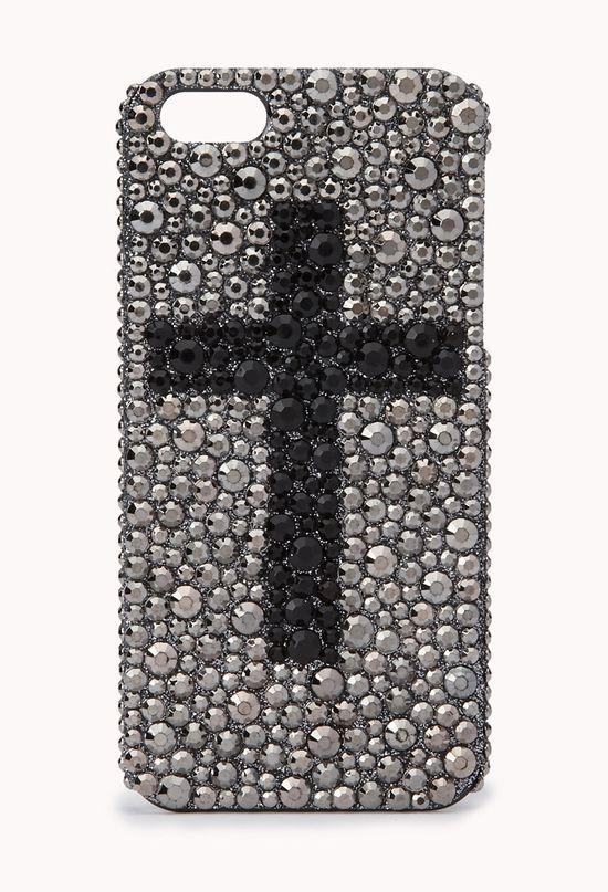 Rhinestoned Cross Phone Case