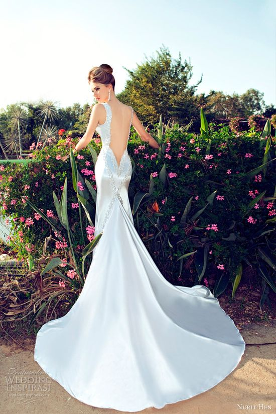 nurit hen 2013 wedding dress open back sheath