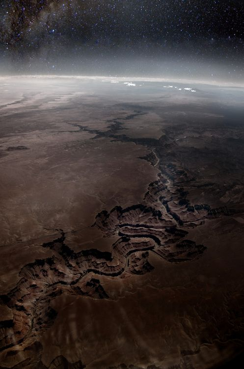 A Top View of the Grand Canyon form Outer Space