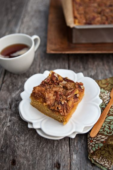 Pumpkin Pie Coffee Cake with Crumbled Pecan Topping