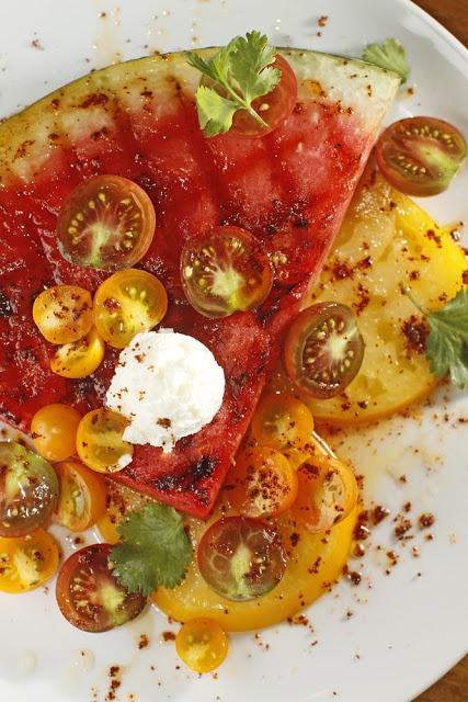 The Chubby Vegetarian: Grilled Watermelon & Tomato Salad + Honey-Lime Vinaigrette