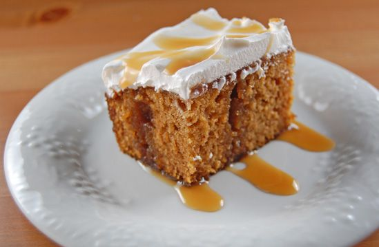 Caramel Pumpkin Cake - Easy cake, made from scratch and drenched with pumpkin from the inside out!