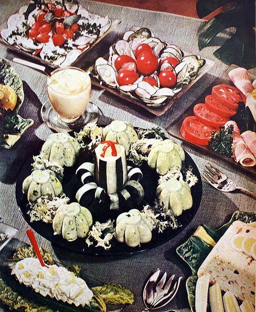 Mid-century luncheon spread #retro #vintage #food #creepy #weird - Carefully selected by GORGONIA www.gorgonia.it