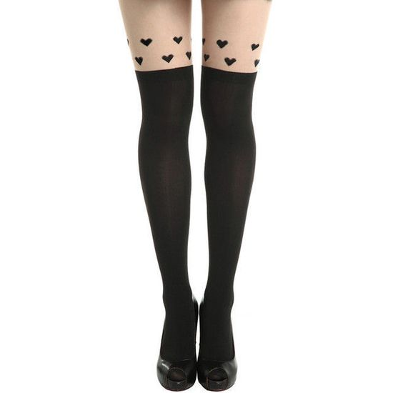 HEARTS TATTOO PATTERN TIGHTS found on Polyvore