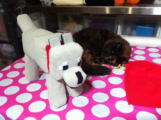 Minecraft dog (tame wolf) handmade plushie and a sleeping kitty