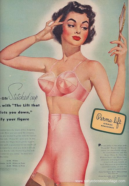 Ad Lingerie Permalift girdles bras 1951, via Flickr.  #vintage #bras #bullet bras #girdles #lingerie #1950s