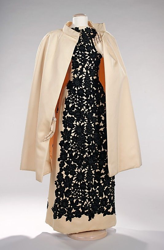 Ensemble, Evening  Marguery Bolhagen  (American)    Manufacturer:      Textile by Abraham & Brauchbar (Swiss)  Date:      1961  Culture:      American  Medium:      silk  Dimensions:      Length at CF (a): 56 in. (142.2 cm) Length at CB (b): 42 in. (106.7 cm)  Credit Line:      Brooklyn Museum Costume Collection at The Metropolitan Museum of Art, Gift of the Brooklyn Museum, 2009; Gift of Mrs. William Randolph Hearst, Jr., 1967  Accession Number:      2009.300.456a, b