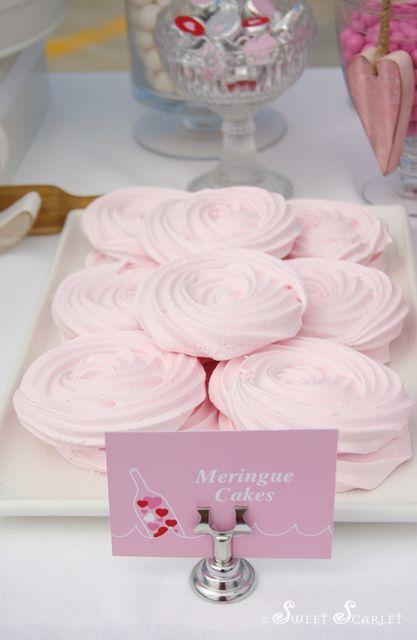 Pink rose meringues at a Valentine's Party #valentines #meringues