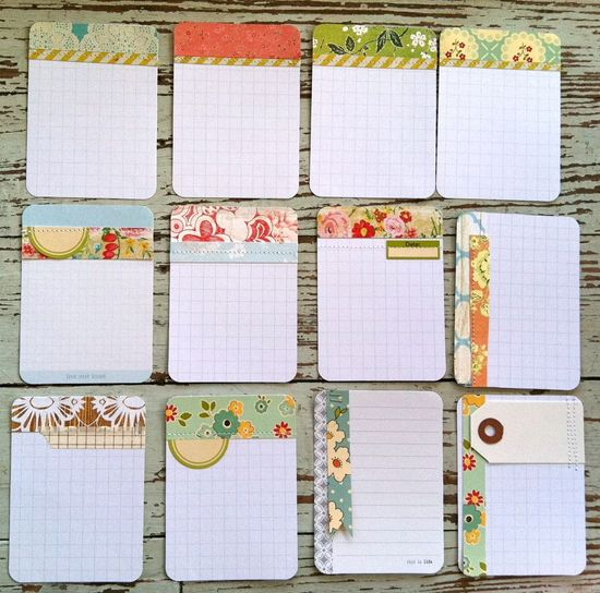 handmade Project Life journaling cards