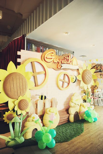 Terrific decor at a Bumble Bee Party!   See more party ideas at CatchMyParty.com!  #partyideas  #bumblebee