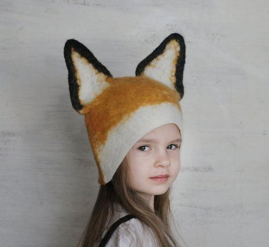 Kids Fox Hat - Hand Felted Wool by vaivanat