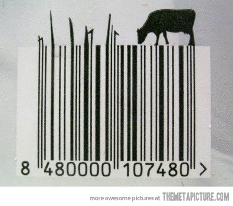 Milk barcode creative food pinterest for Food barcode