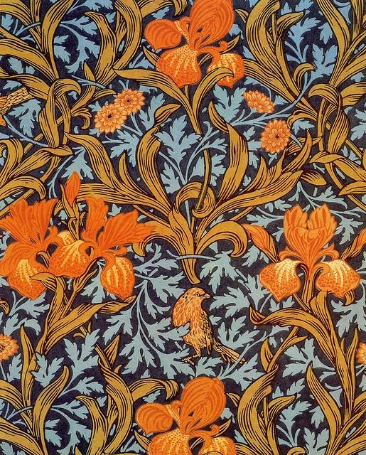 John Henry Dearle 'iris' 1887  'Iris' textile design by John Henry Dearle, produced by Morris & Co in 1887.