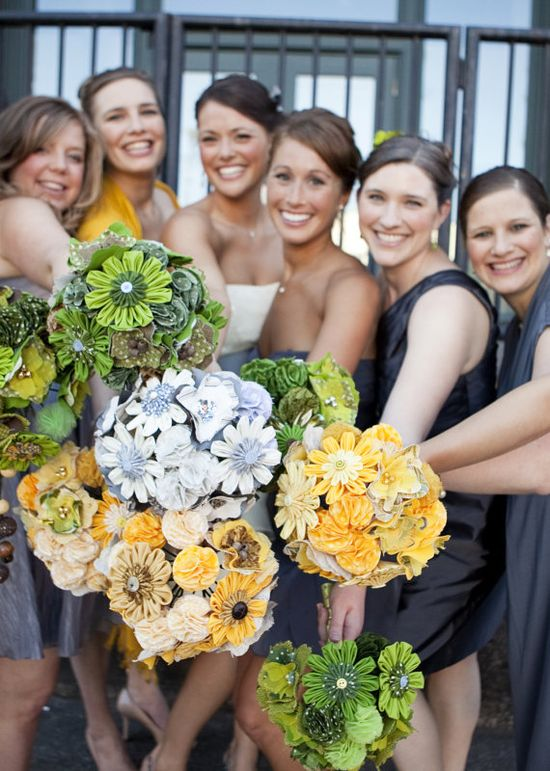 Fabric wedding bouquets... I really like this shot too!!