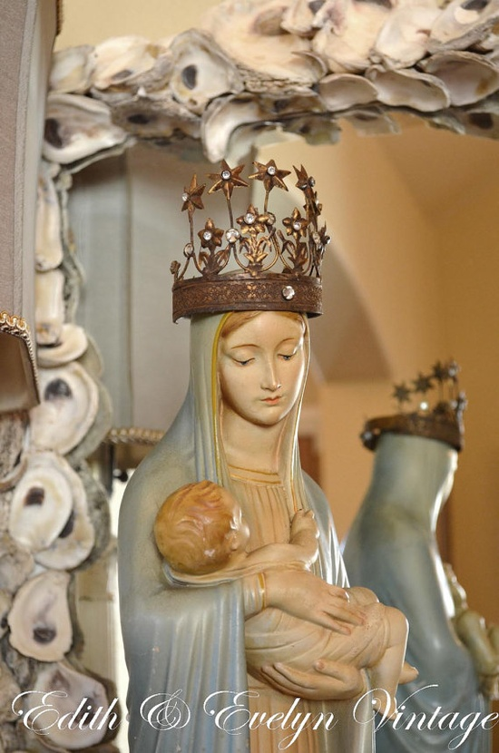 Vintage Daprato Madonna and Child Statue Art by edithandevelyn on Etsy