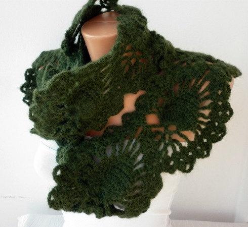 SALE  Green Scarf Khaki  Neckwarmer Cowl  Mohair  Pine by anils, $41.40