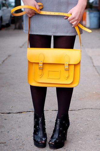 bright yellow satchel.
