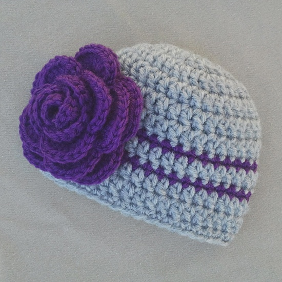 Crochet Baby Girl Hat with Flower, Newborn Photography Prop Hat, Purple and Gray. via Etsy.