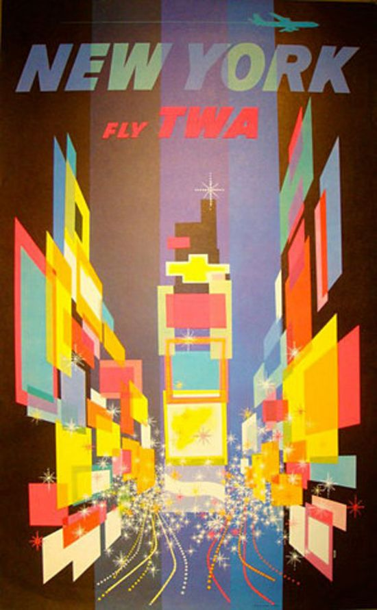 #Vintage #Travel #Poster #New #York #NYC #Times #Square #Graphic #Design #TWA #Airline