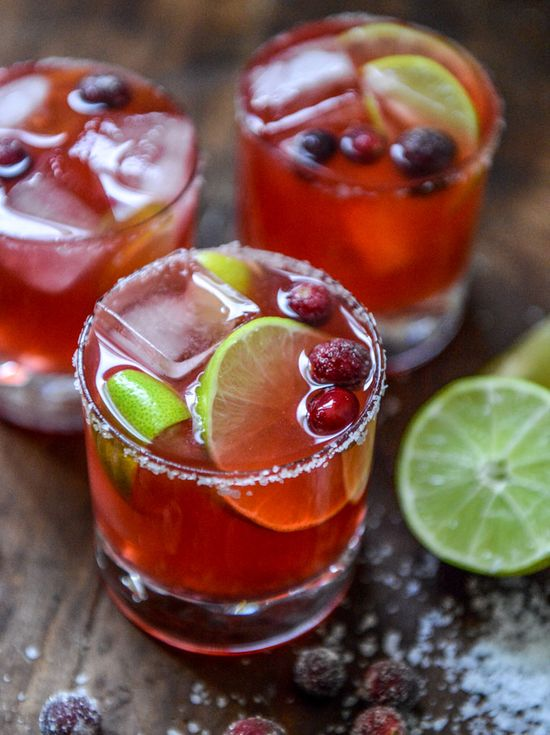 Who says you can't have margaritas in the winter?  fresh cranberry ginger vanilla margaritas (with sugared cranberries!)