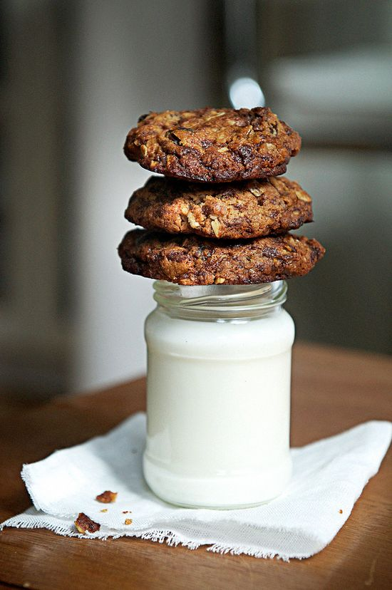 Oatmeal, honey, chocolate cookies