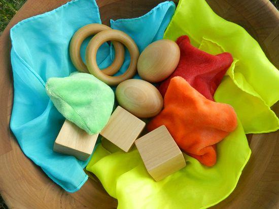 Natural Baby Toy Gift Set - Blocks, Bean Bags, Playsilks, and Teething Rings