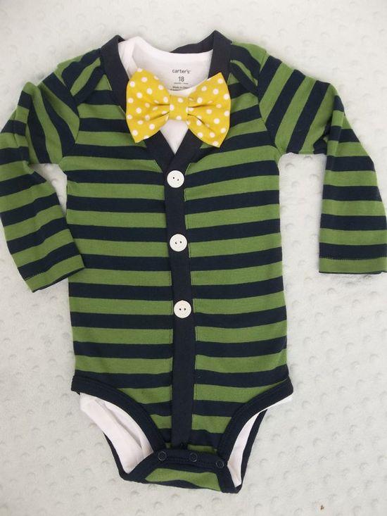 Cardigan Onesie Lemon Dot Bowtie   For a Preppy Baby Boy