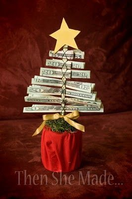 DIY Money Christmas Tree Tutorial. What a great gift idea for the hard to buy for family members on your list like fathers and teens! This is a gift that won't need to be returned! She has 2 different easy to make Christmas Money Trees on this page. Super fun! :)