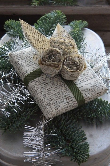 newspaper wrapping paper made elegant.