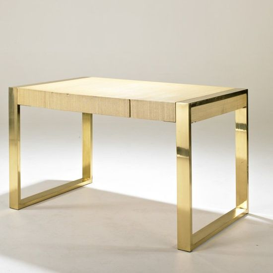 """AMERICAN    Lacquered linen and brass desk, USA, 1970s; Unmarked; 30 1/2"""" x 50"""" x 30"""""""