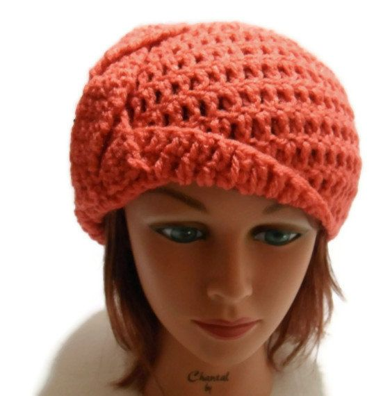 Crochet  Braided Cloche Beanie Hat in Coral by AddSomeStitches, $25.00