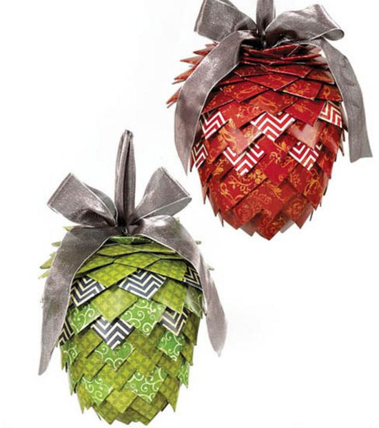 Hanging Pinecone Christmas Decor made from @DCWV Inc. Inc. Paper Stacks!