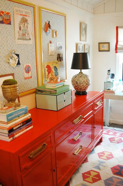 covered cork boards, refinished dresser, fabric window shades -- lots of DIY ideas