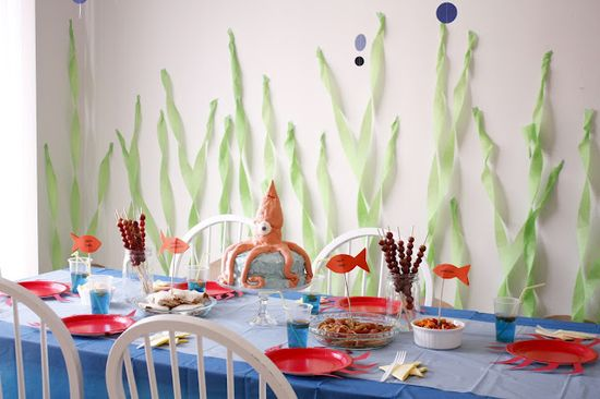 Under the sea birthday party decorations.