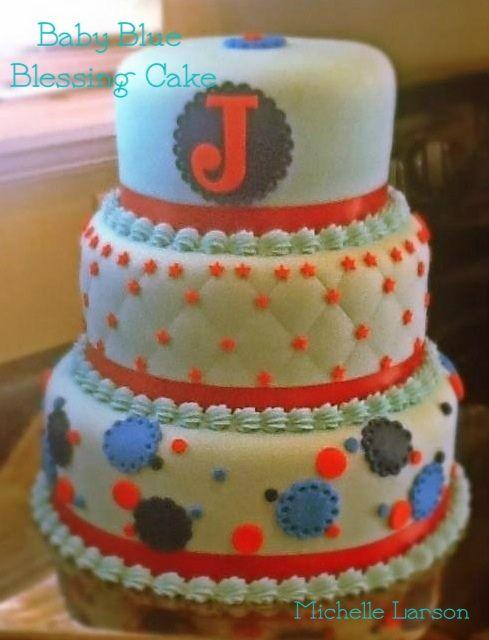 Baby boy blessing cake